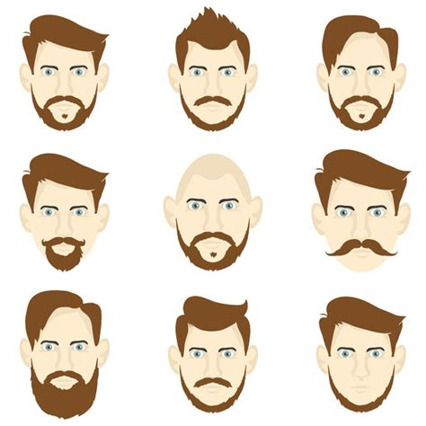 cartoon guy hairstyles set of men with different hairstyles objects on creative