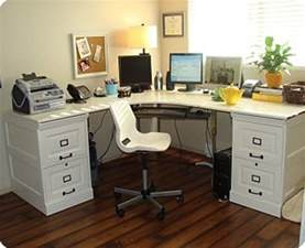 large corner desk with file cabinets