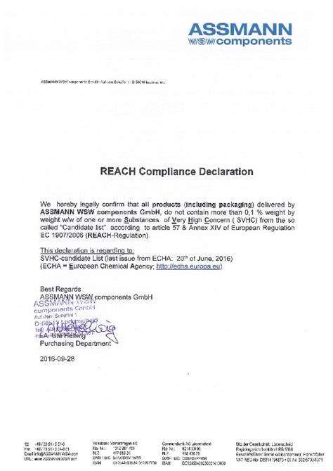 reach declaration template reach compliance declaration