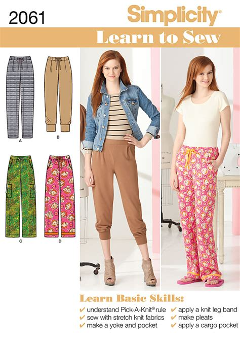 simplicity pattern website simplicity 2061 misses knit and woven pants