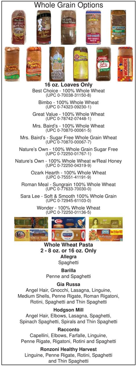 whole grains wic florida oklahoma wic food list