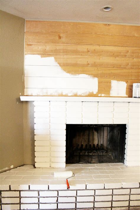 White Brick Fireplace by Diy Planked Mantle And White Brick Fireplace Clutter