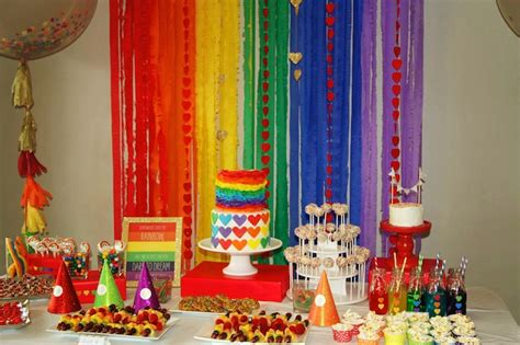 themed decorating ideas kara s ideas rainbow themed birthday decor