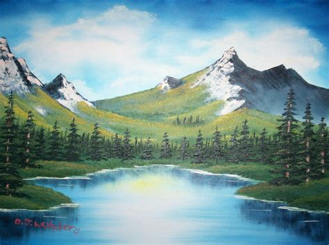 bob ross painting lake mountain ridge lake by djgames on deviantart