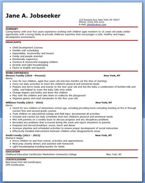 Resume Sles Nanny Position Resume For Nanny Nanny S Nanny And Resume