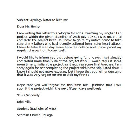 Exle Of Apology Letter Format Apology Letter To School 8 Free Documents In Pdf Word