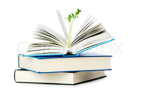 Knowledge Book knowledge concept with books and seedlings stock photo
