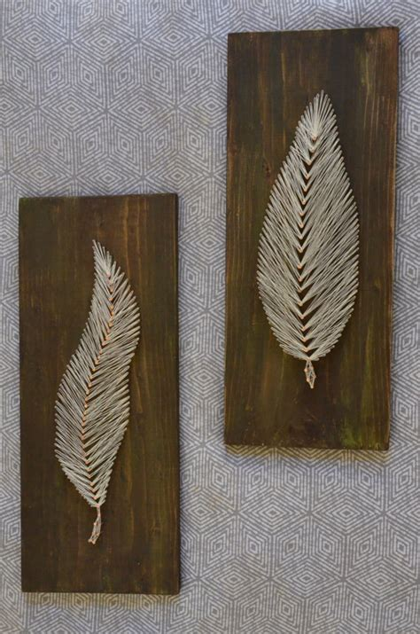 Nail And String Wall - set of 2 string feather nail by