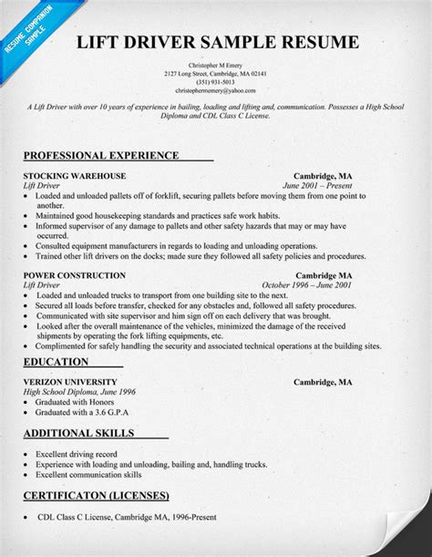 Sample Forklift Resume – Example Resume: Forklift Driver Resume Sample