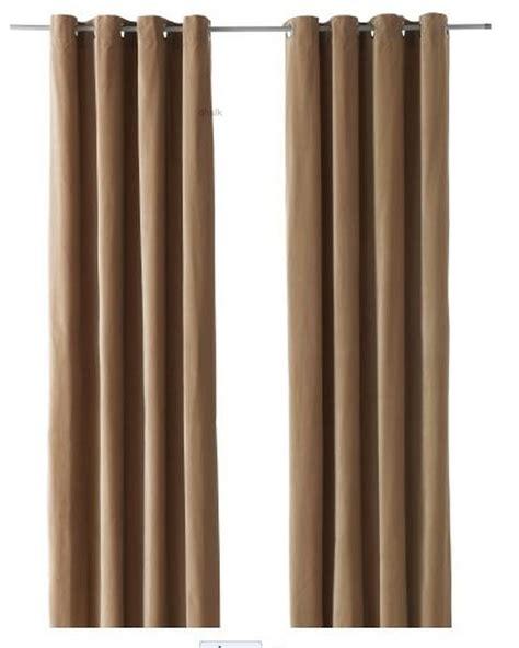 Ikea sanela curtains drapes 2 panels beige velvet 98 quot grommet top