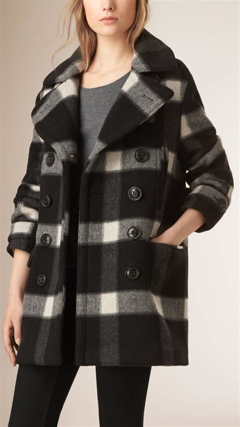Kaos Armani Us Army burberry check wool blend pea coat in black lyst