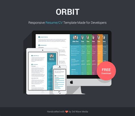 Free Bootstrap Resume Cv Template For Developers Orbit Responsive Resume Template