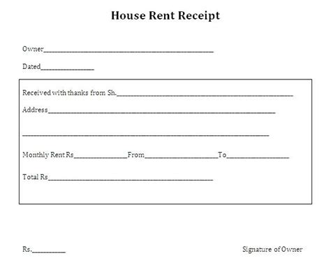 Rent Receipt Template For Income Tax by Room Rent Receipt Format Pdf House Rent Receipt Format