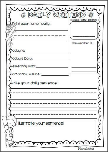 guided writing template daily writing for kindergarten pre primary grade