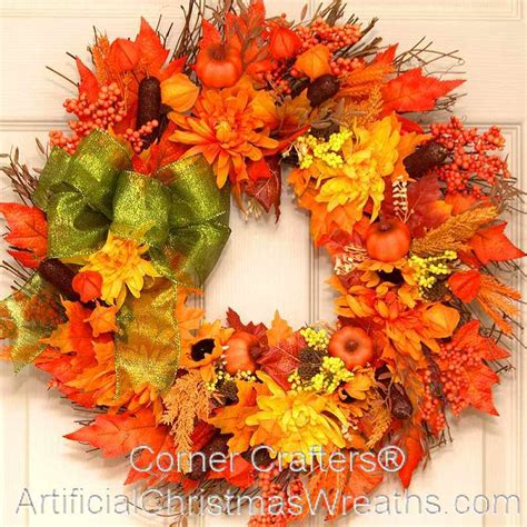 autumn wreaths autumn splendor thin door wreath cornercrafters com