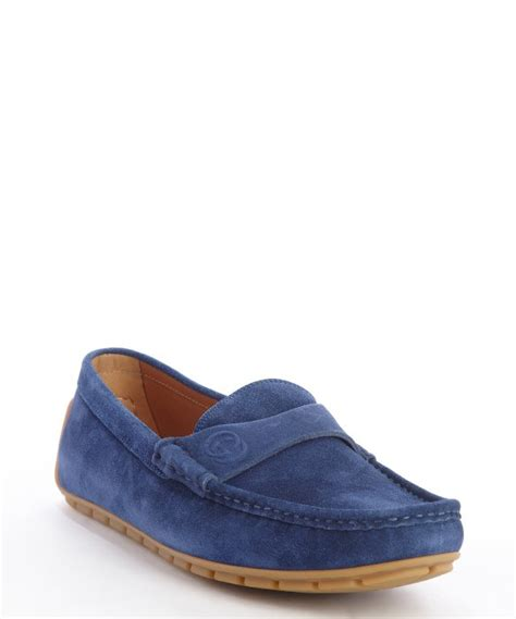 gucci blue suede loafers gucci zaffre blue suede driver loafers for lyst