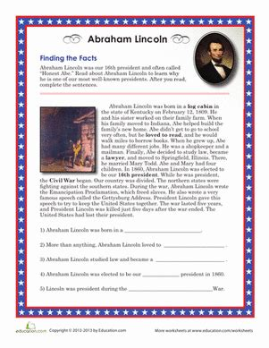 abraham lincoln biography for 3rd graders abraham lincoln facts worksheet education com