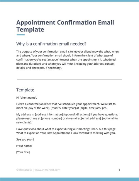 Appointment Confirmation Email Template For Therapists Theranest Free Email Templates For Appointment Confirmation Template