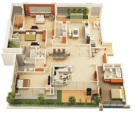 House With 4 Bedrooms | 50 four 4 bedroom apartment house plans architecture