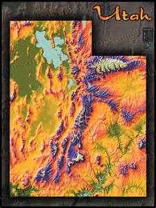 Utah Elevation Map by Physical Map Of Utah Topography Colorful Mountains And