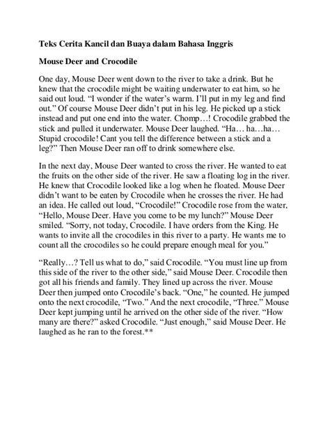 cerita kancil dan buaya dalam bahasa inggris beserta koleksi dongeng bahasa inggris terbaru terlengkap share