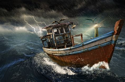 cartoon boat in storm old boat in storm free stock photo public domain pictures