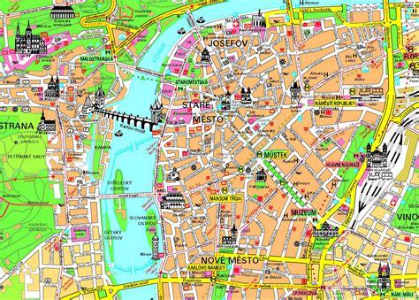 map of city detailed tourist map of prague city center prague city