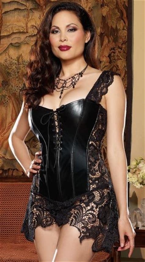 Blouse Bigsize Gabriela by Plus Size Faux Leather And Venice Lace Corset Sleeve