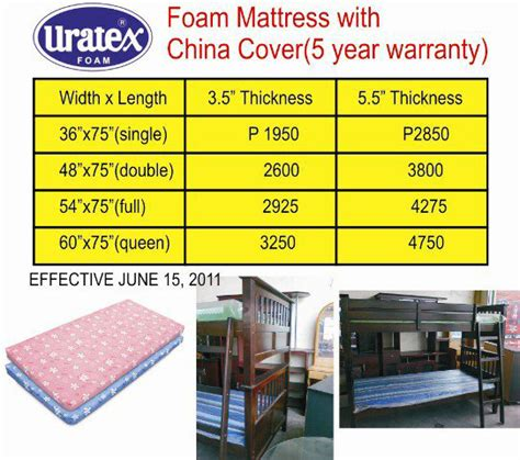 sofa bed price list uratex foam price price list update