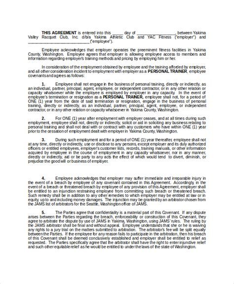 employee non compete agreement template 9 non compete agreements free sle exle format