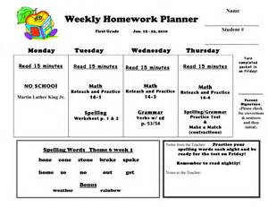 weekly homework template 10 best images of weekly homework agenda template
