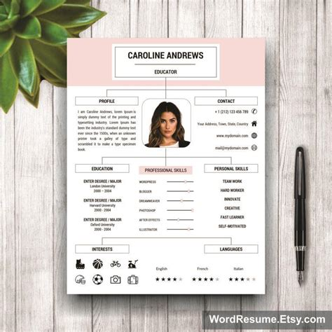 layout portfolio word resume template cover letter and portfolio for ms word