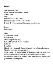 Decline To Bid Letter Templates 10 Bid Rejection Letter Templates Free Premium Templates