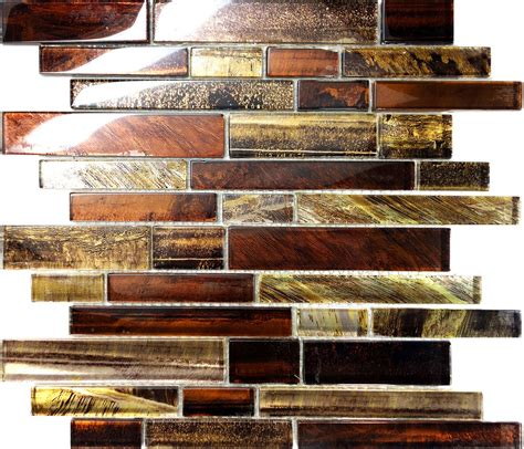sle golden brown metallic linear glass mosaic tile