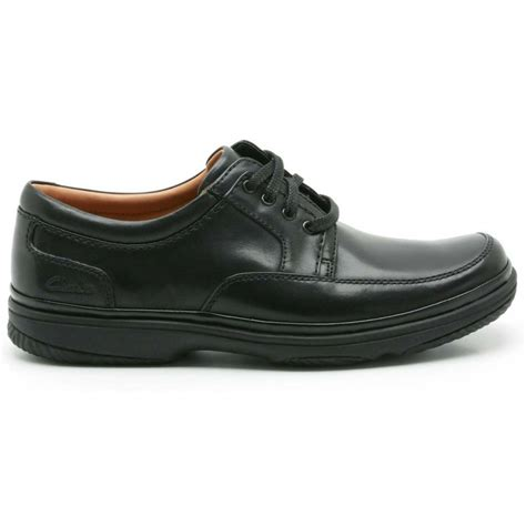 clarks mens mile black leather shoes wide