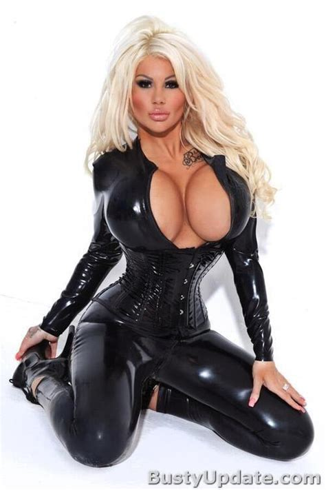Busty Blonde Doll Candy Charms In Latex Catsuit Xxx Photo