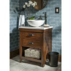 Bathroom Vanity With Top And Faucet Shop Allen Roth Cromlee Bark Vessel Poplar Bathroom