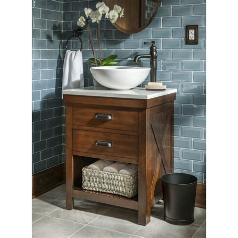 vanity top inch for vessel sink lowes bathroom shop allen roth cromlee bark vessel poplar bathroom vanity with engineered top faucet