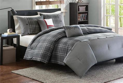 Boys Plaid Comforter Set grey plaid or comforter set boys gray gunmetal bedding ebay