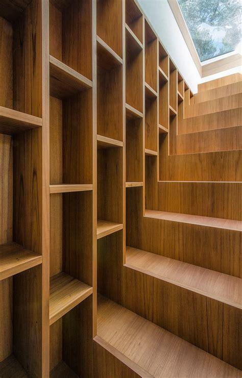 staircase bookshelves italian summer house covered in travertine by