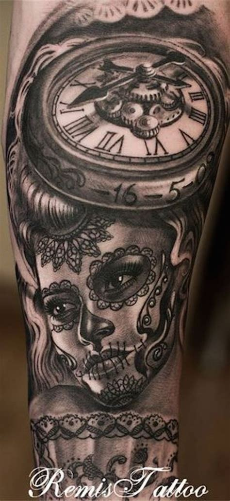 pinterest tattoo clock clock and day f the dead tattoo tattoomodels day of the