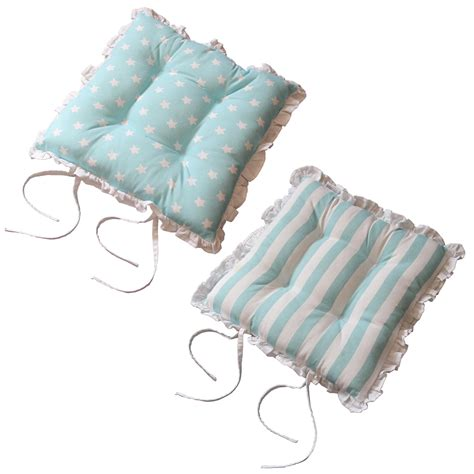 Dining Chair Pads With Ties Seat Pads For Dining Chair Cotton Square Reversible Frilled Cushion With Ties Ebay