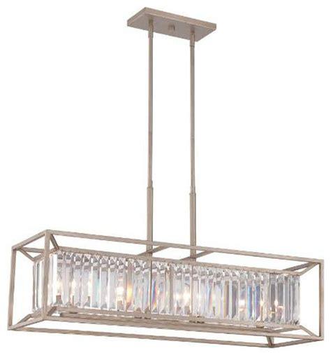 Transitional Pendant Lighting 4 Light Linear Chandelier With Prisms Transitional Pendant Lighting By