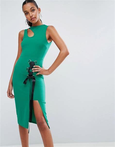 Lace Up Midi Bodycon Dress asos asos eyelet lace up midi bodycon dress with thigh split