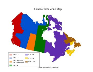 canadian map and time zones canada time zone map