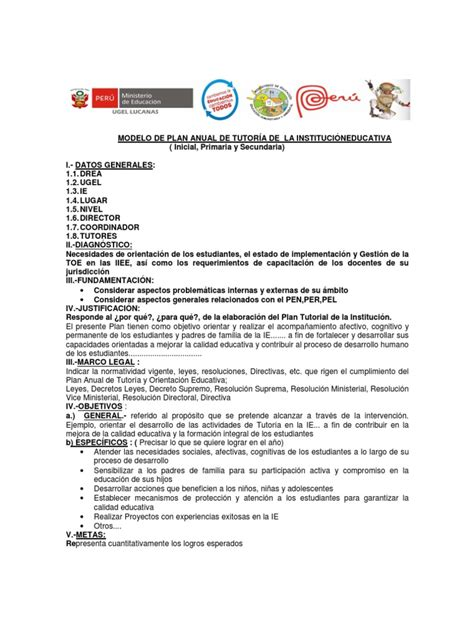 modelo plan de trabajo scribd newhairstylesformen2014 com esquema modelo plan tutoria