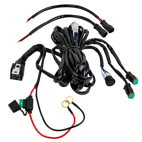 Wiring Harness For Led Light Bar Led Light Wiring Harness With Switch And Relay Dual Output Dt Connector Led Work Light