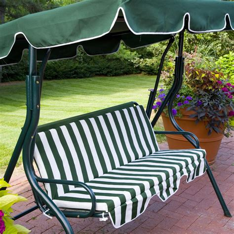 swing bench with canopy outdoor green stripe patio sling swing glider furniture