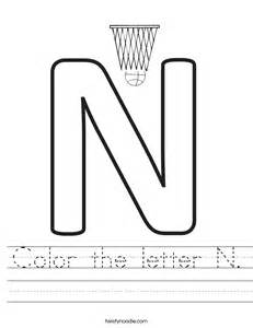 n color color the letter n worksheet twisty noodle