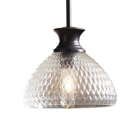 Allen Roth Pendant Lights Shop Allen Roth 8 25 In W Rubbed Bronze Mini Pendant Light With Textured Shade At Lowes